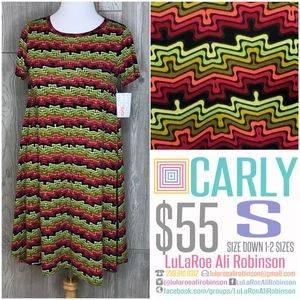LuLaRoe Carly - Size S - Pink, Green & Black